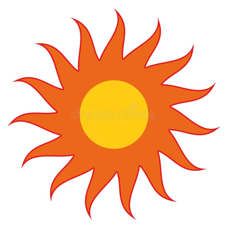 Sun arancio con il vettore rosso eps10 dei raggi Sole giallo con i raggi illustrazione vettoriale