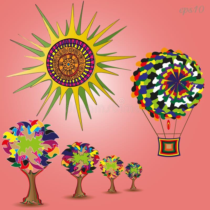 Sun, arbres et l'aérostat illustration de vecteur