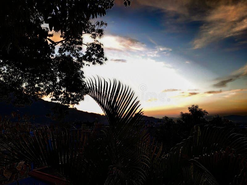 Sun is arriving. Beautiful morning. Sunrise. Pokhara Nepal. stock photography