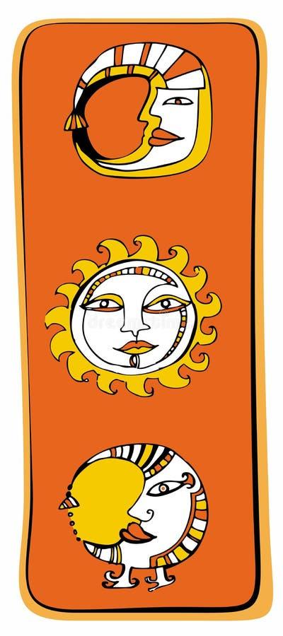 Sun, astrología de la luna stock de ilustración