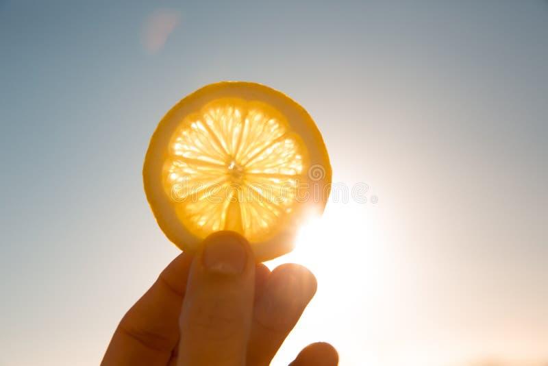 Sun atrás da fatia do limão fotografia de stock royalty free