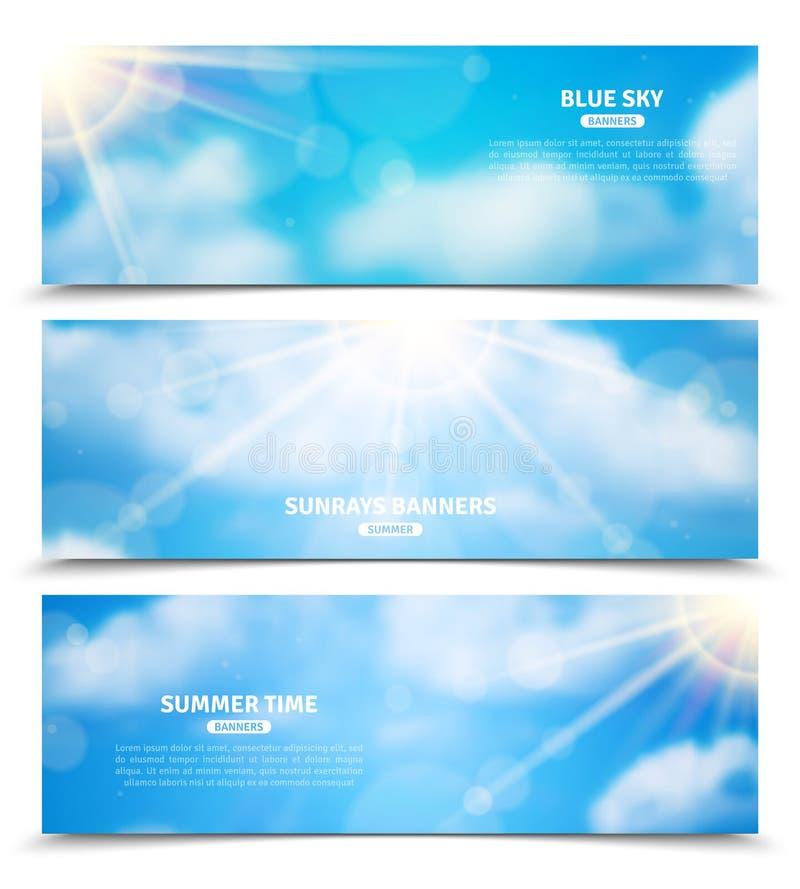 Sun através das bandeiras do céu das nuvens ajustadas ilustração do vetor