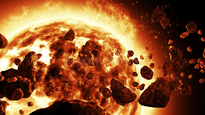 Sun attacked by Asteroids. Sun close-up render attacked by Asteroids royalty free stock photos
