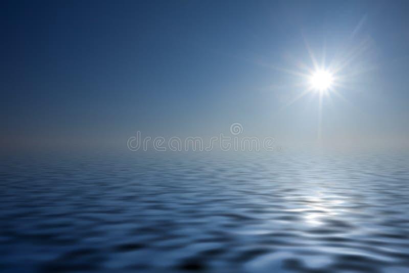 Sun au-dessus d'océan images libres de droits