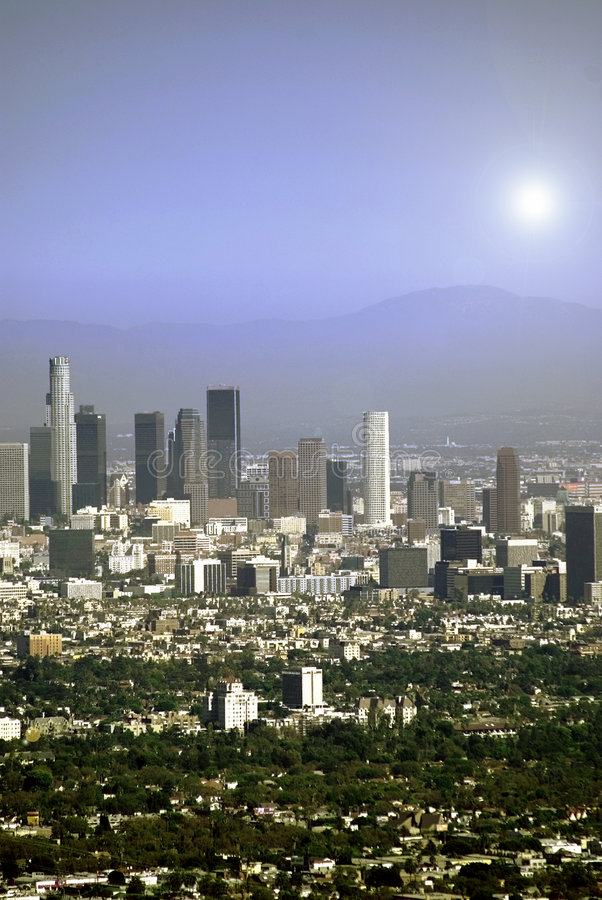 Sun au-dessus de Los Angeles photographie stock