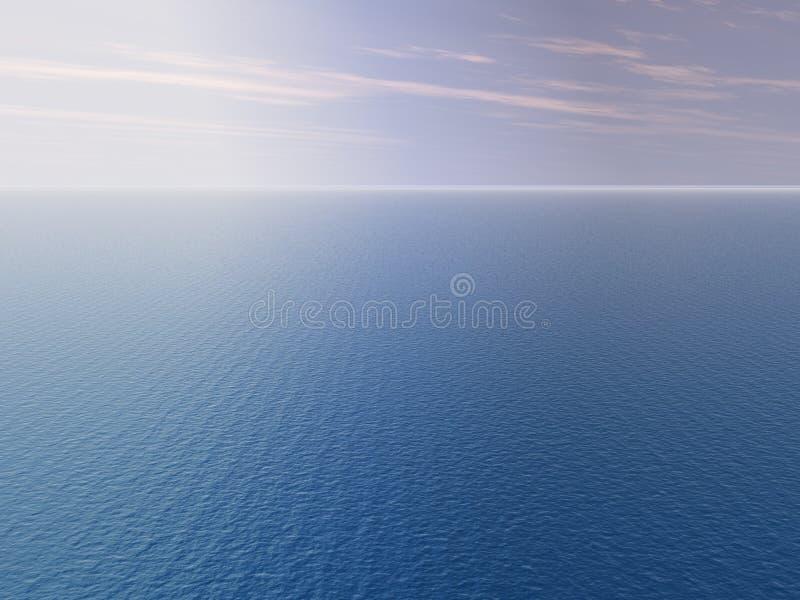 Sun au-dessus de mer illustration de vecteur