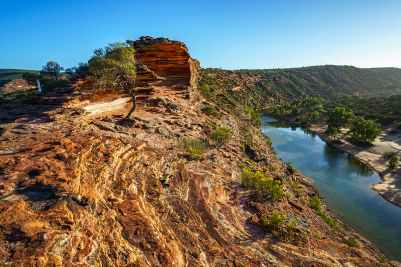 Sun au-dessus de traînée de boucle de fenêtre de natures, parc national de kalbarri, Australie occidentale 9 photo libre de droits
