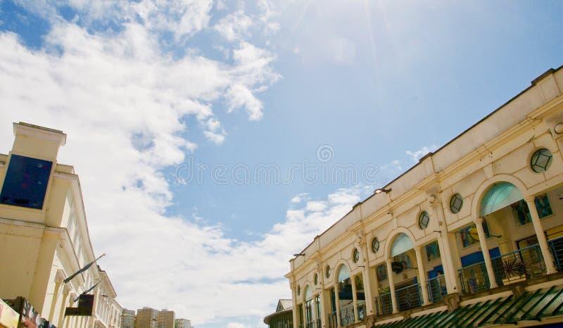Sun auf den Gebäuden stockbild
