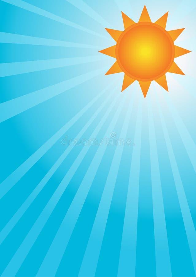 Sun auf einem blauen Himmel lizenzfreie abbildung