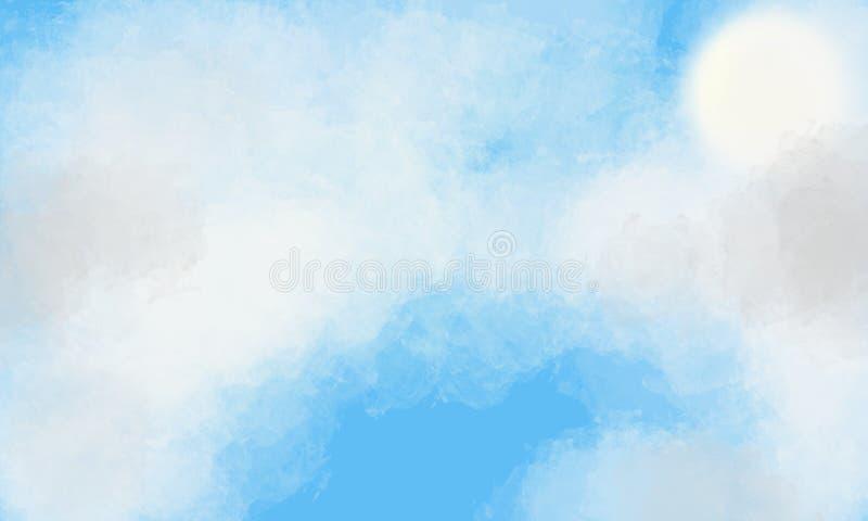 Sun auf einem blauen Himmel, der hinter weichen Wolken sich versteckt vektor abbildung