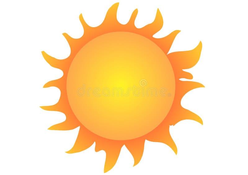 Sun auf weißem Hintergrund stock abbildung