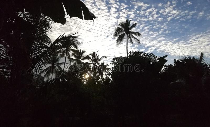 Sun aumenta em Sri Lanka fotografia de stock