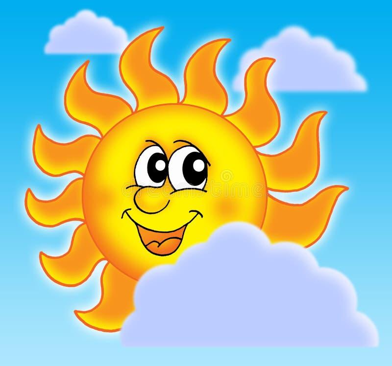 Sun avec des nuages illustration de vecteur