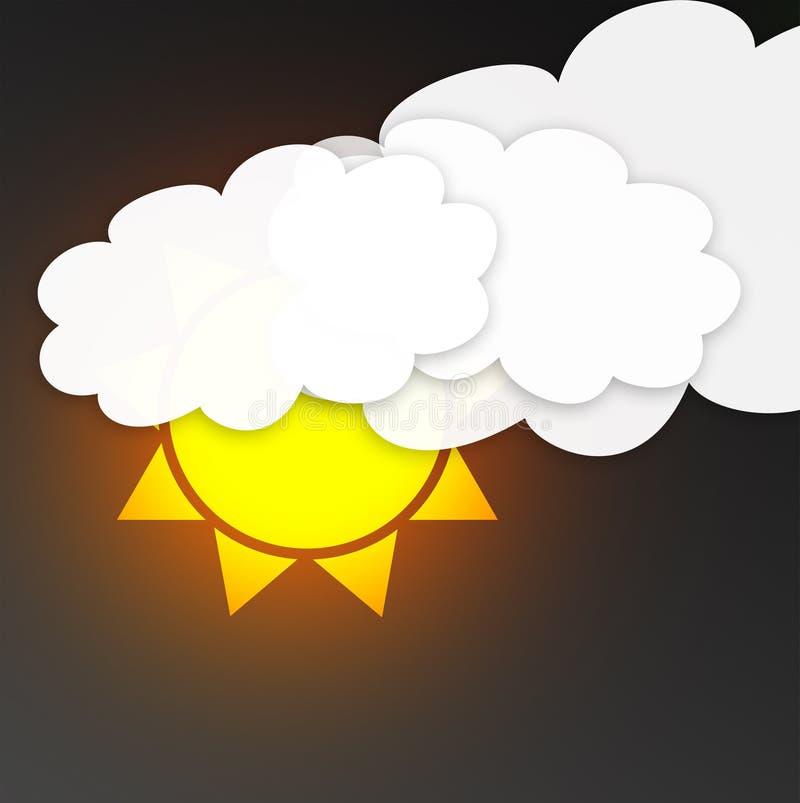 Sun avec des nuages dans le ciel foncé Symbole de temps illustration de vecteur