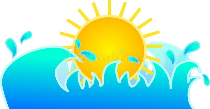 Sun avec des vagues d'eau illustration de vecteur