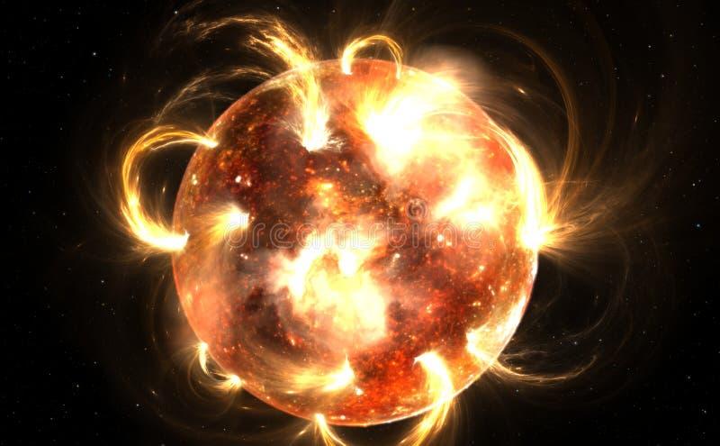 Sun avec la couronne Tempête solaire, éruptions chromosphériques illustration de vecteur
