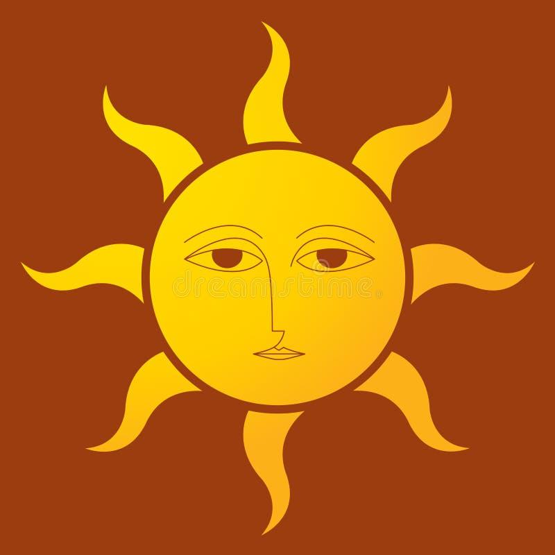 Sun avec le fond brun illustration de vecteur