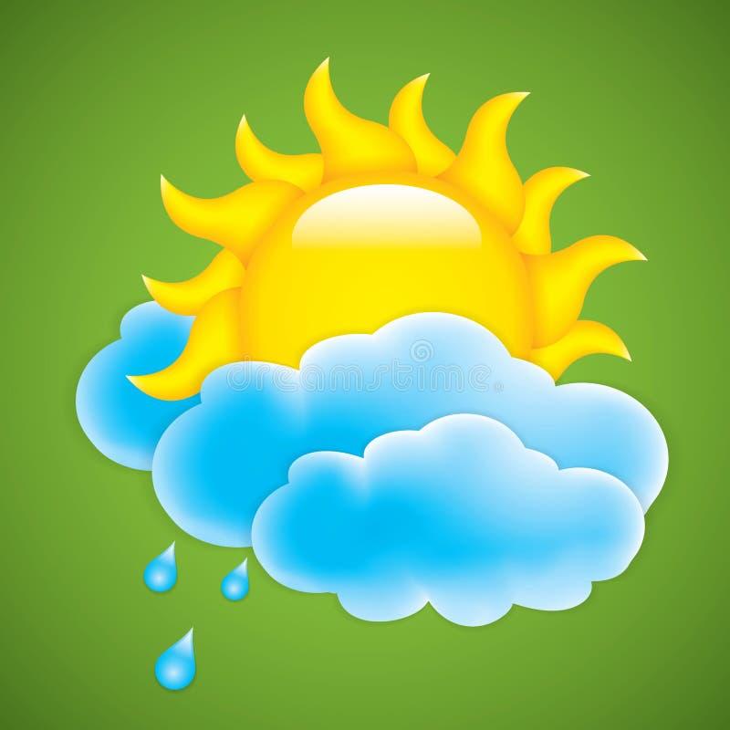 Sun avec le nuage illustration de vecteur