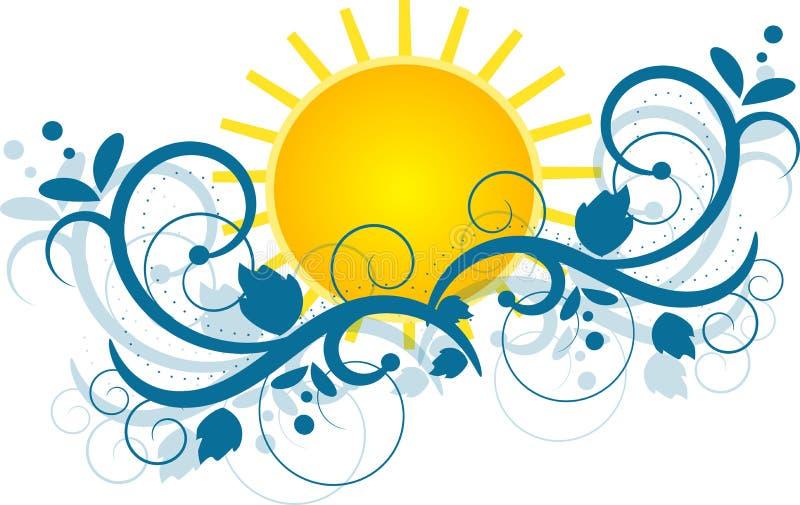 Sun avec les ornements bleus illustration stock