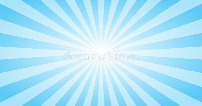 Sun azul abstrato irradia o fundo do vetor Projeto 4K ensolarado do verão ilustração royalty free
