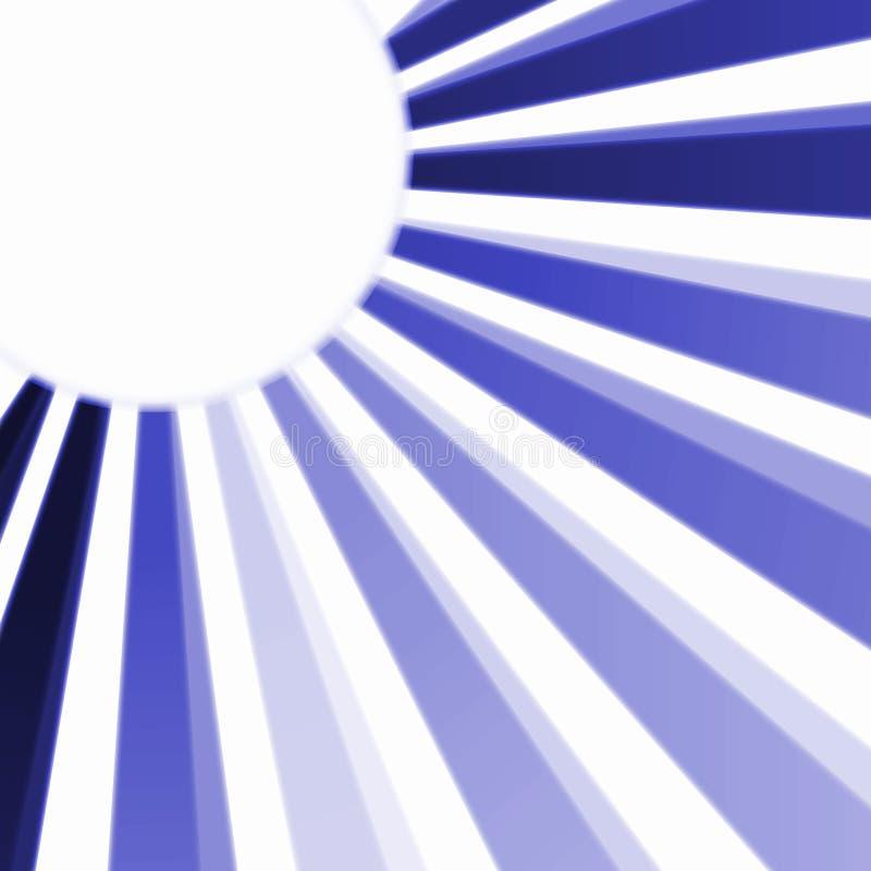 Sun azul irradia la tarjeta del marco stock de ilustración