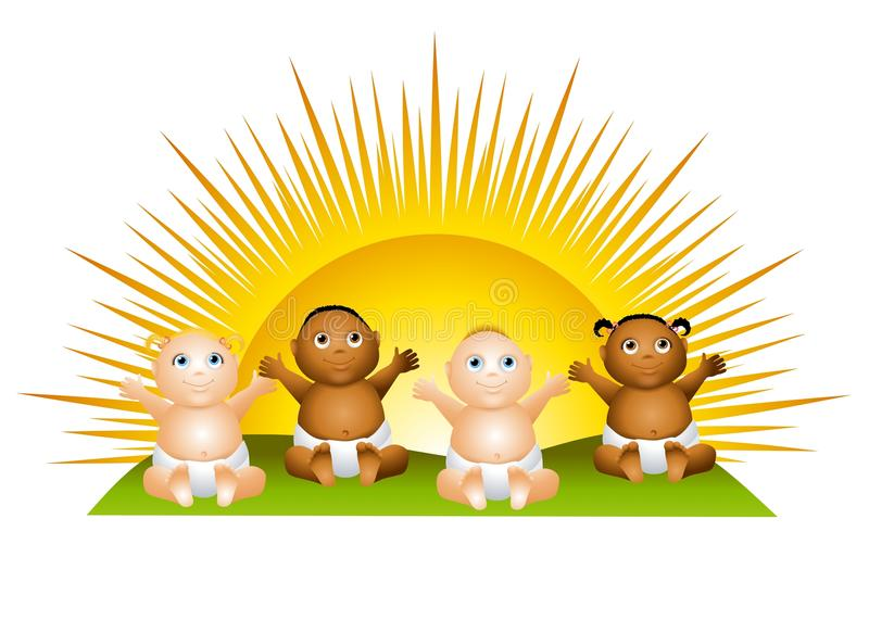 Sun Babies Clip Art. An illustration featuring a bunch of babies sitting in front of a sunrise royalty free illustration
