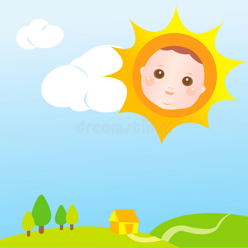 Sun baby card royalty free illustration