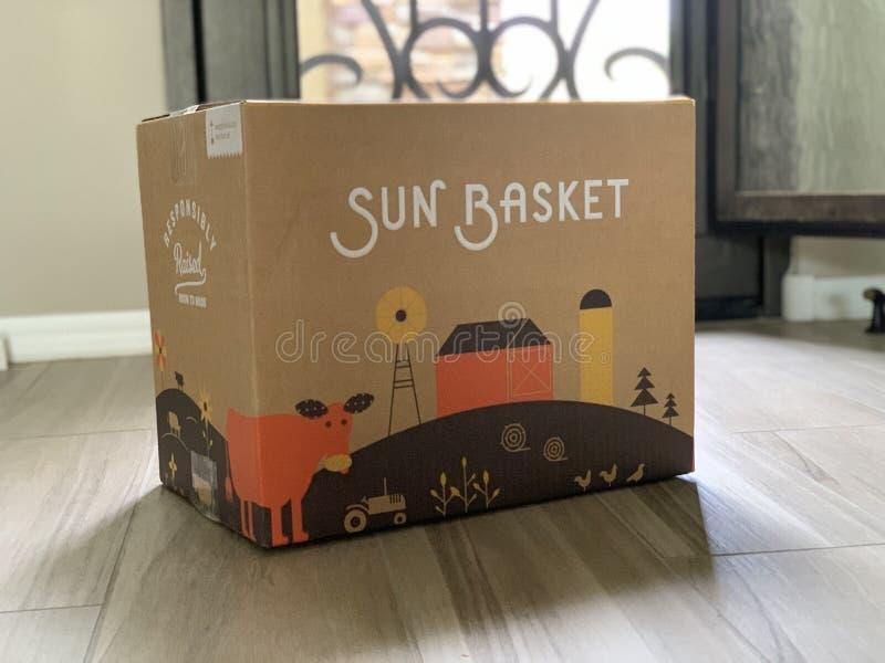 Sun Basket Meal Deivery Box. Phoenix, Arizona, April 30th, 2019: Sun Basket Meal Service Box royalty free stock photos