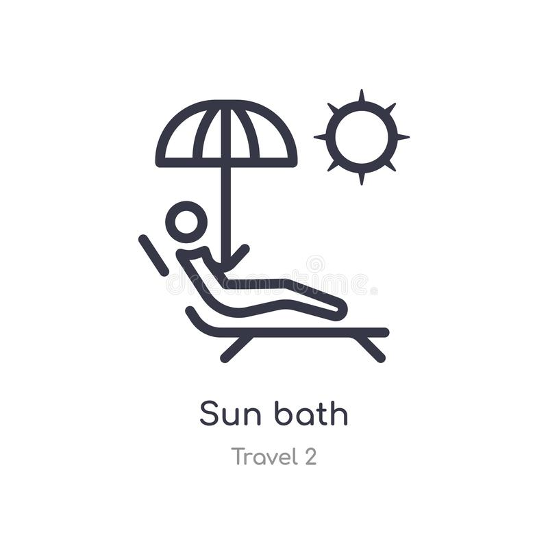 Sun bath outline icon. isolated line vector illustration from travel 2 collection. editable thin stroke sun bath icon on white. Background royalty free illustration