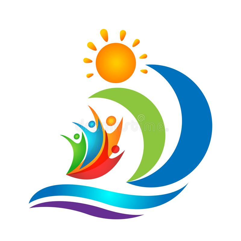 Sun beach water wave people team work union wellness celebration boat concept symbol icon design vector on white background. Sun beach water wave ship people royalty free illustration