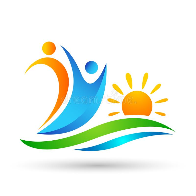 Sun beach water wave people team work union wellness celebration group work concept symbol icon design vector on white background. In ai10 illustrations vector illustration