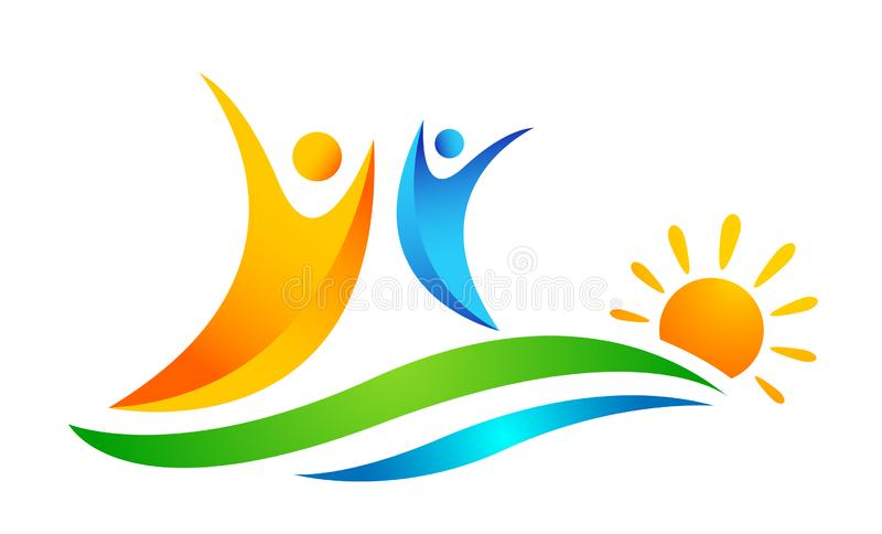 Sun beach water wave people team work union wellness celebration group work concept symbol icon design vector on white background vector illustration