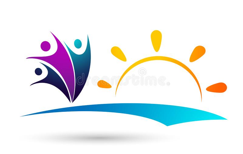Sun beach water wave people team work union wellness celebration group work concept symbol icon design vector on white background royalty free illustration