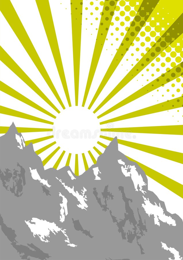 Download Sun beam on mountain top stock vector. Image of terrain - 3059585