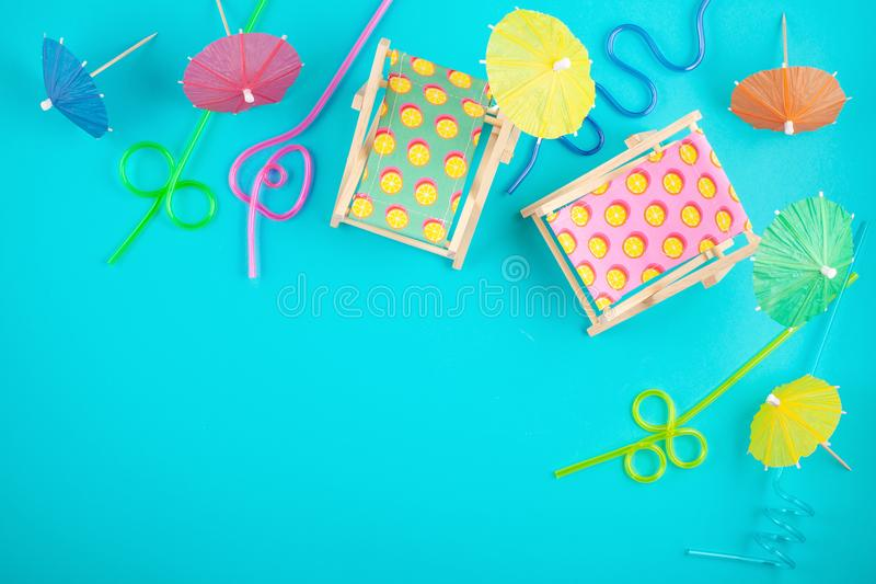 Sun beds and party accessories. Summer vacations at the sea side concept. Sun beds and beach party accessories. Summer vacations at the sea side concept royalty free stock photos