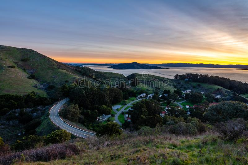 Early morning over the San Francisco Bay. The sun begins to rise over San Francisco and the Golden Gate Bridge royalty free stock photos