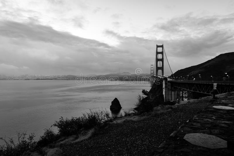 Early morning over the San Francisco Bay. The sun begins to rise over San Francisco and the Golden Gate Bridge royalty free stock photography