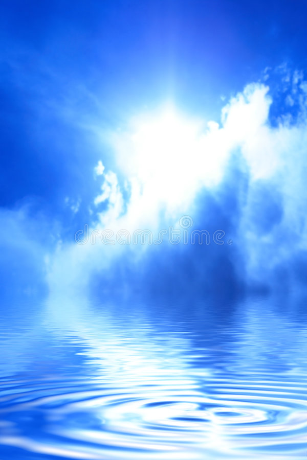 Sun behind a cloud. Sun among clouds in the blue sky and reflection of the sky in water royalty free stock photography
