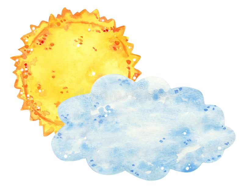 Sun behind the clouds, hand drawn watercolor illustration royalty free stock photos