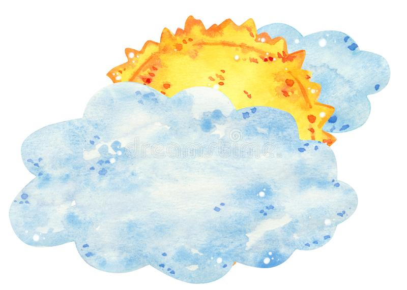 Sun behind the clouds, hand drawn watercolor illustration stock photography