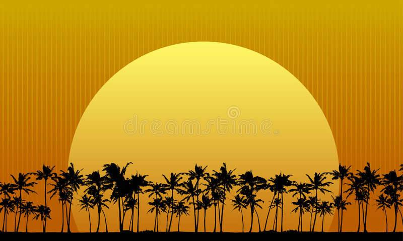 Download Sun Behind Palm Trees stock vector. Image of graphic, sunrise - 3036643