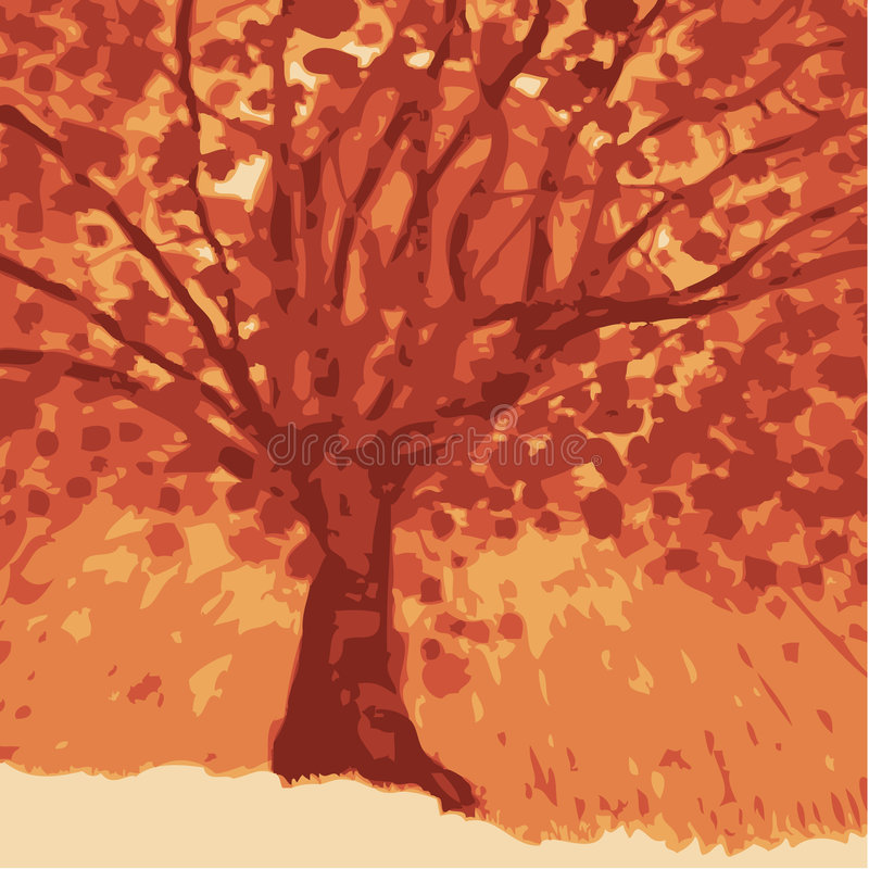 Download Sun behind tree stock vector. Image of tree, nature, environment - 5513343