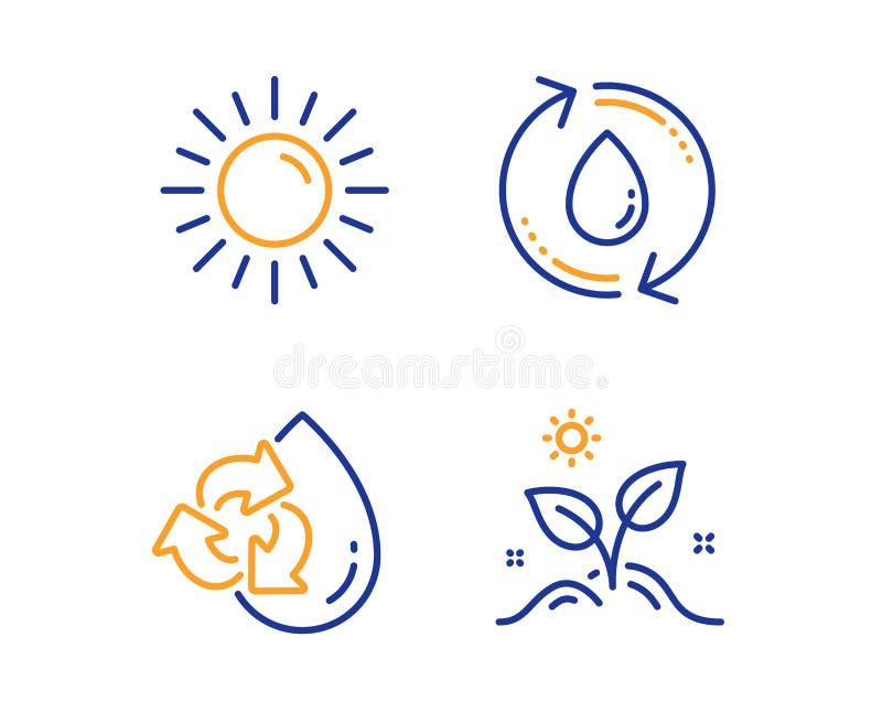 Sun, bereiten Wasser- und Nachf?llungswasserikonensatz auf Wachsen Sie Betriebszeichen Sommer, Nachf?llungsaqua, bereiten Aqua au lizenzfreie abbildung