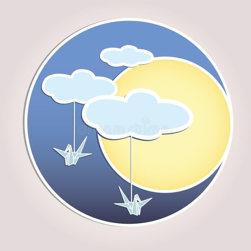 Sun bewölkt Himmel vektor abbildung