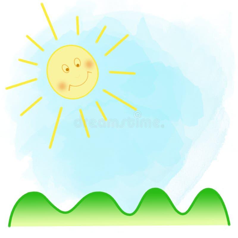 Sun, blauer Himmel und grünes Gras, Hintergrund lizenzfreie abbildung