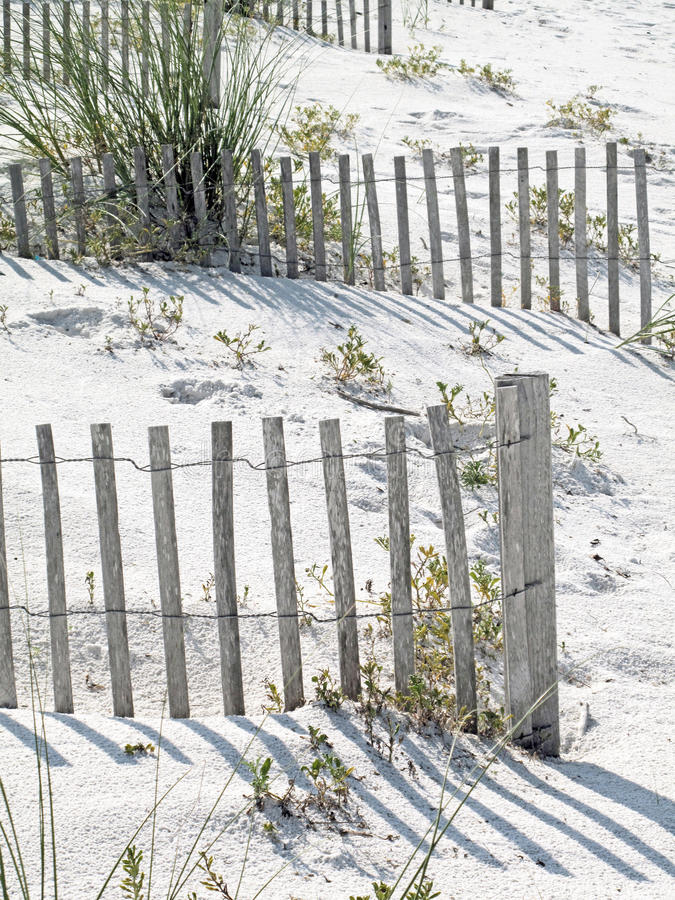 Sun Bleached Sand Fences royalty free stock photography