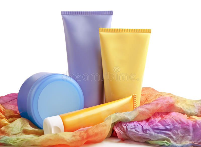 Sun blocking cream, lotion and toner for summer ca. Re stock images