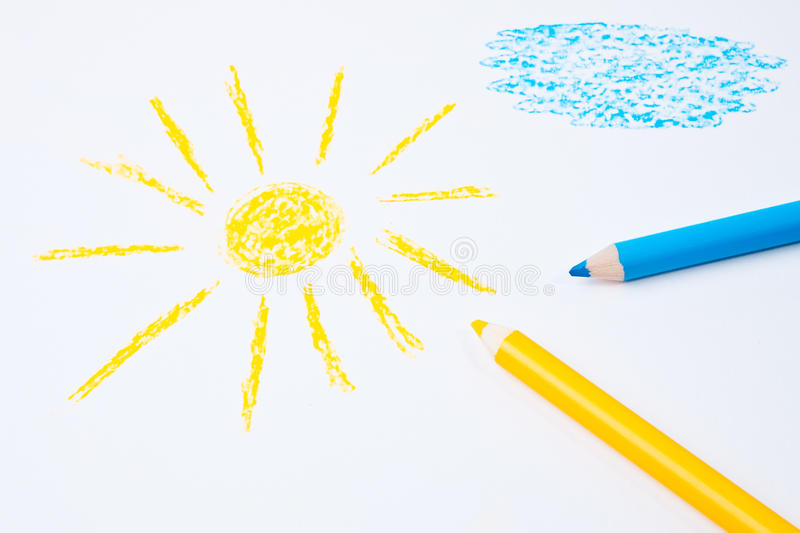 Sun and blue cloud drawing. Sun and blue cloud drawing on white paper royalty free stock photo