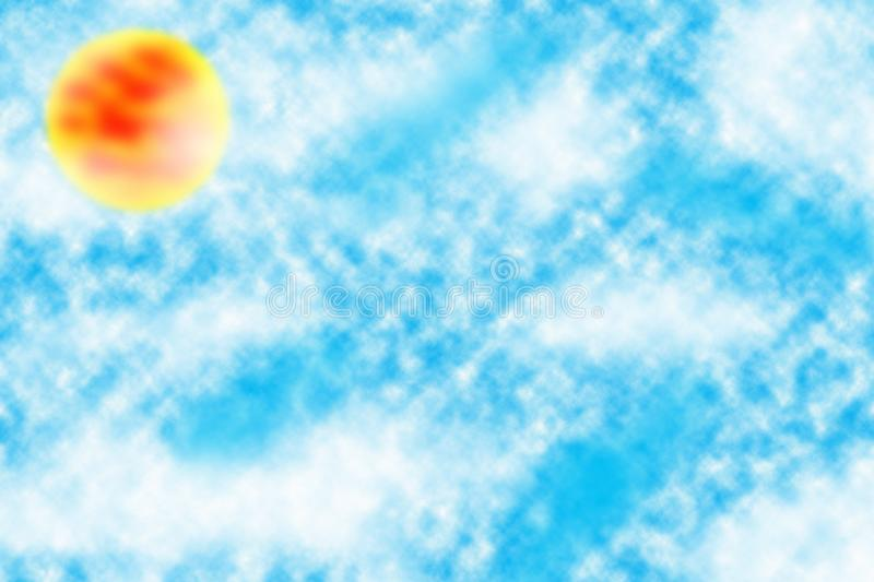 Sun in the blue cloudy sky beautiful wallpaper and background stock photos