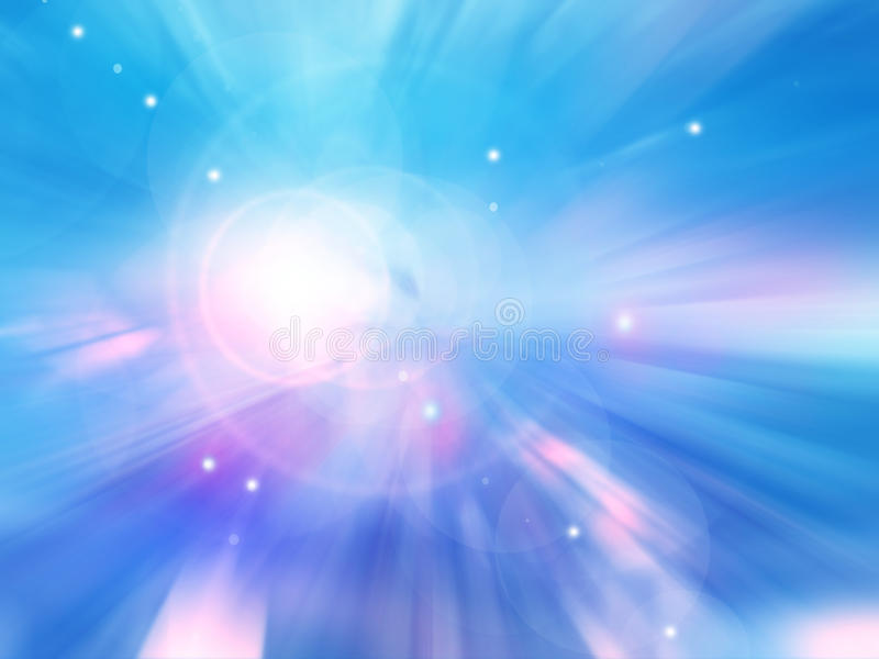 Sun on blue sky with lenses flare stock illustration